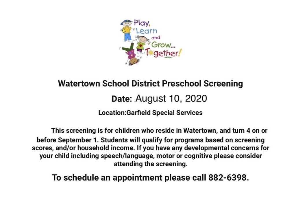 Watertown School District Preschool Screening